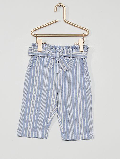 Pantalón ancho                             a rayas azul
