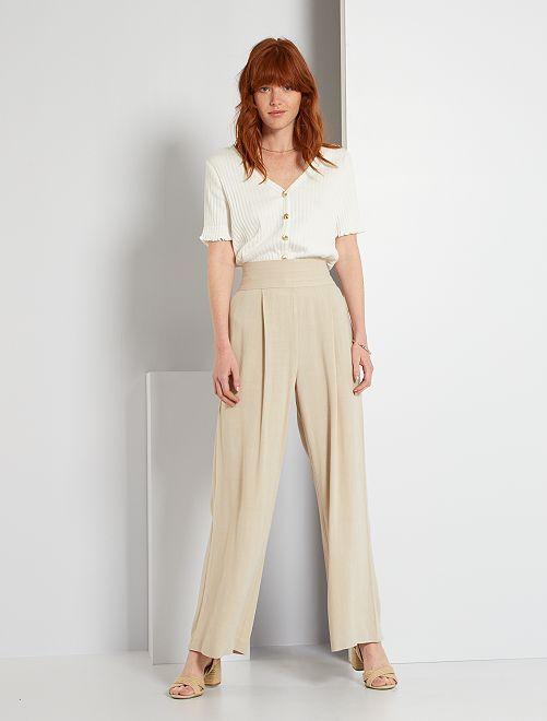 Pantalón ancho                             beige crema