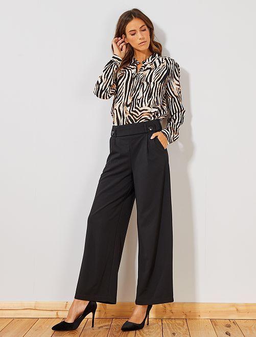 Pantalón ancho con botones                                         negro