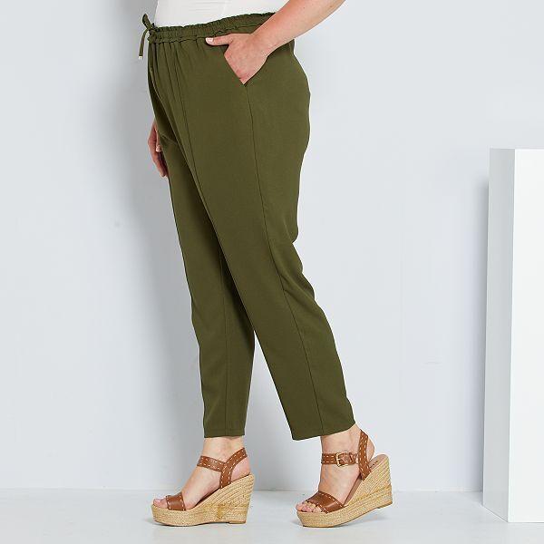 Pantalon Ancho Con Cintura Elastica Tallas Grandes Mujer Verde Kiabi 14 00