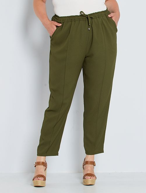 Pantalón ancho con cintura elástica                                                     KAKI