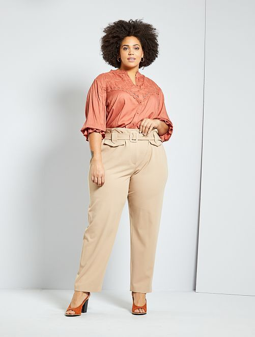 Pantalón ancho con cinturón                                         BEIGE