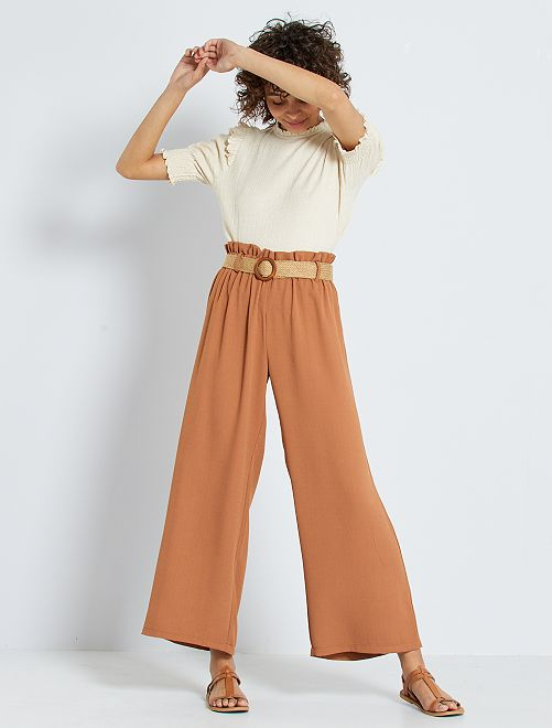 Pantalón ancho con cinturón de paja                             NARANJA