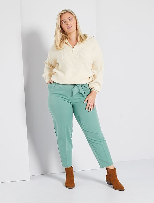 Pantalón ancho con cinturón                             VERDE
