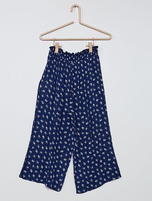 Pantalón ancho con detalle fruncido                                         AZUL