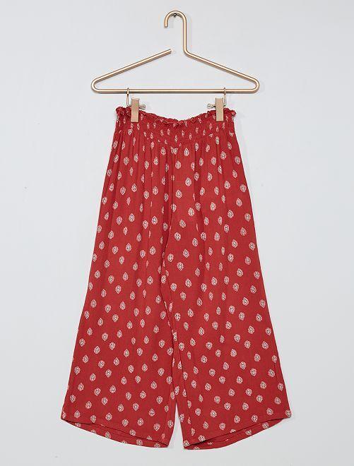 Pantalón ancho con detalle fruncido                                         ROSA