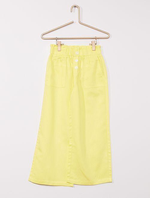 Pantalón ancho con lino                                 AMARILLO