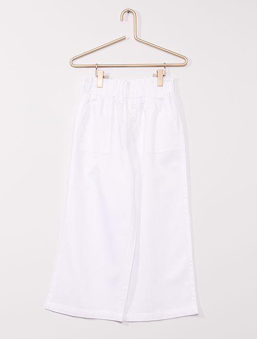 Pantalón ancho con lino                                         BLANCO