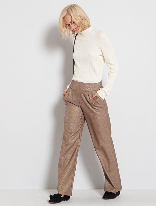 Pantalón ancho con pequeños motivos                             MARRON