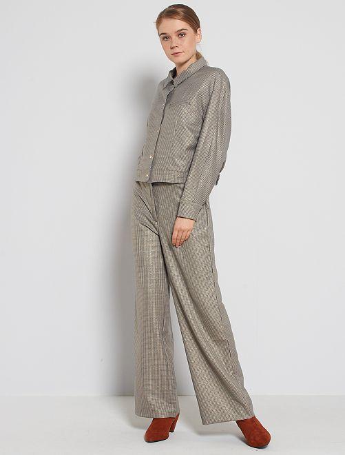 Pantalón ancho de cuadros                             AZUL