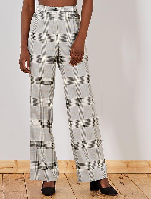 81e8322866 Pantalón ancho de cuadros Mujer talla 34 a 48 - BEIGE - Kiabi - 20