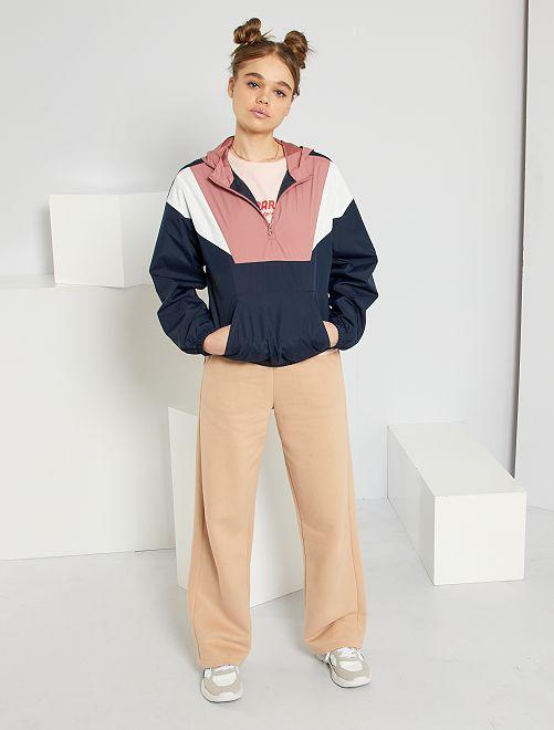 Pantalón ancho de felpa                             BEIGE