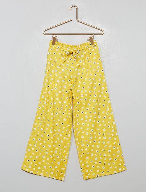 Pantalón ancho de flores                                         AMARILLO