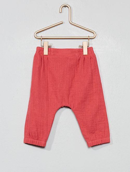 Pantalón ancho de gasa de algodón                                         rosa Bebé niña