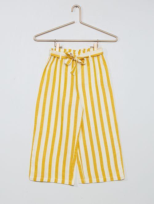 Pantalón ancho de rayas                             AMARILLO