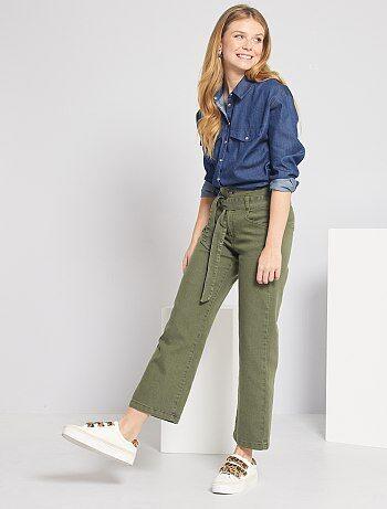 Pantalones Tobilleros Mujer Talla 34 A 48 Caqui Kiabi
