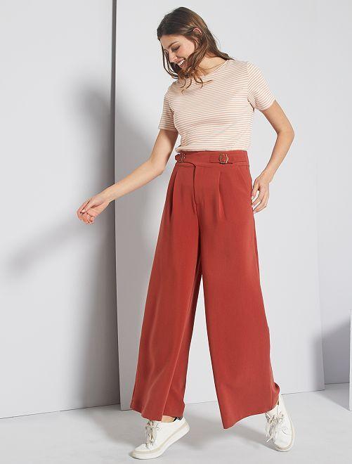 Pantalón ancho de talle alto                                         ROJO