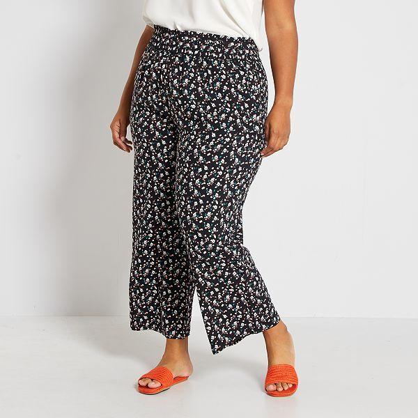 Pantalon Ancho Estampado Tallas Grandes Mujer Negro Kiabi 14 00