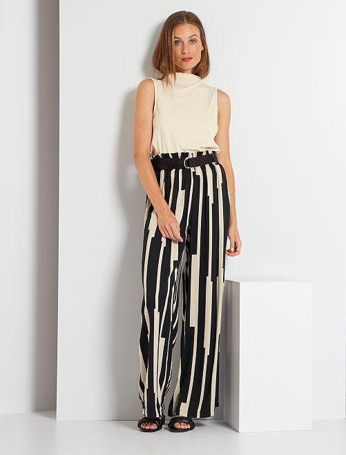 Pantalón ancho                             negro/blanco