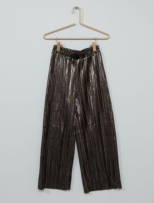Pantalón ancho plisado                                         GRIS