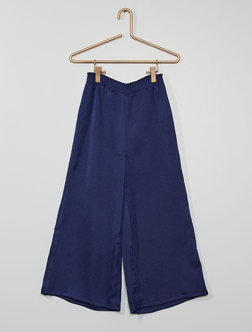 Pantalón ancho satinado                             azul cobalto