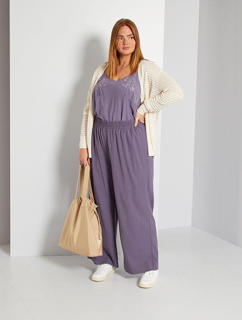 Pantalón ancho satinado                             violeta gris