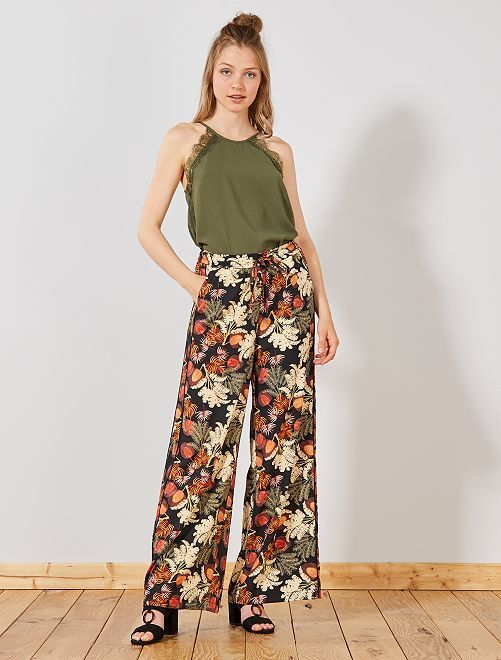 Pantalón ancho vaporoso con bandas laterales                                         NEGRO Mujer talla 34 a 48