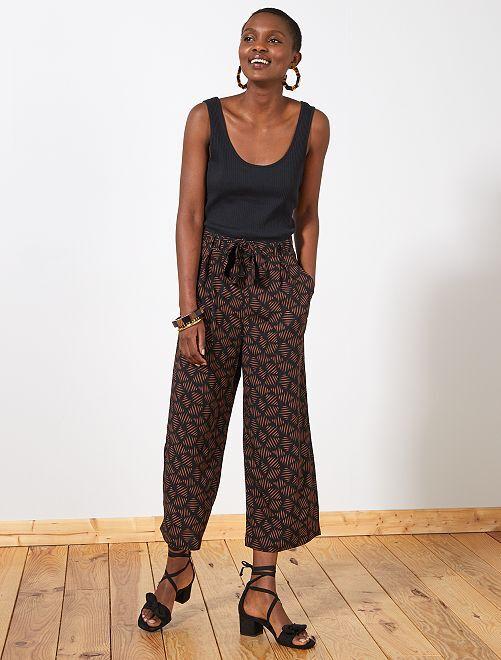 Pantalón ancho vaporoso estampado                             NEGRO Mujer talla 34 a 48