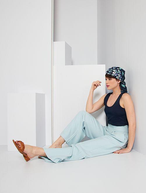 Pantalón ancho vaporoso                                                         gris azul