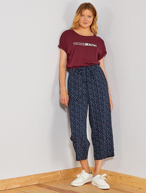 Pantalón ancho vaporoso tobillero                                                     AZUL Mujer talla 34 a 48