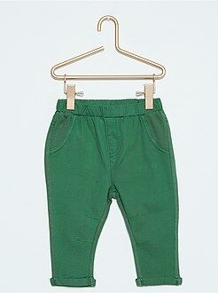 Pantalones - Pantalón bimaterial de sarga y felpa - Kiabi