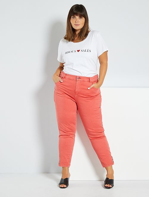 Pantalón capri con botones                                                                 rosa naranja