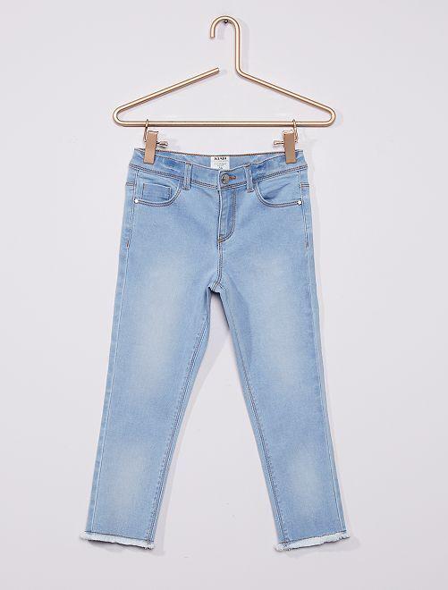 Pantalón capri skinny de algodón elástico eco-concepción                                         AZUL