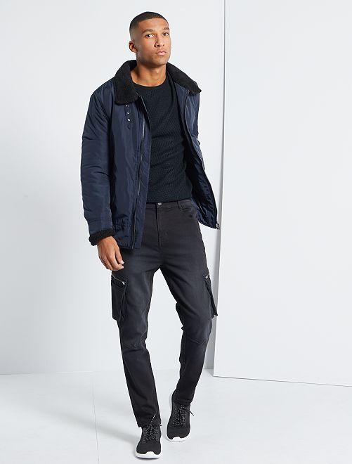 Pantalón cargo con cintura elástica                                         GRIS