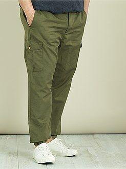 Pantalones - Pantalón cargo de lino y algodón - Kiabi