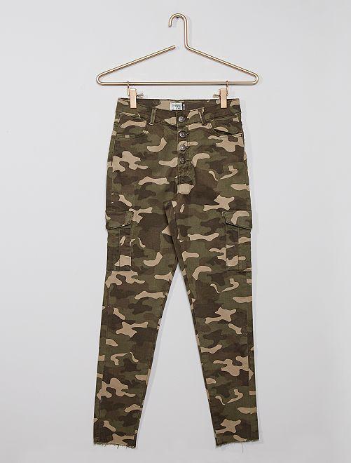 Pantalón cargo eco-concepción                                                     estampado camuflaje