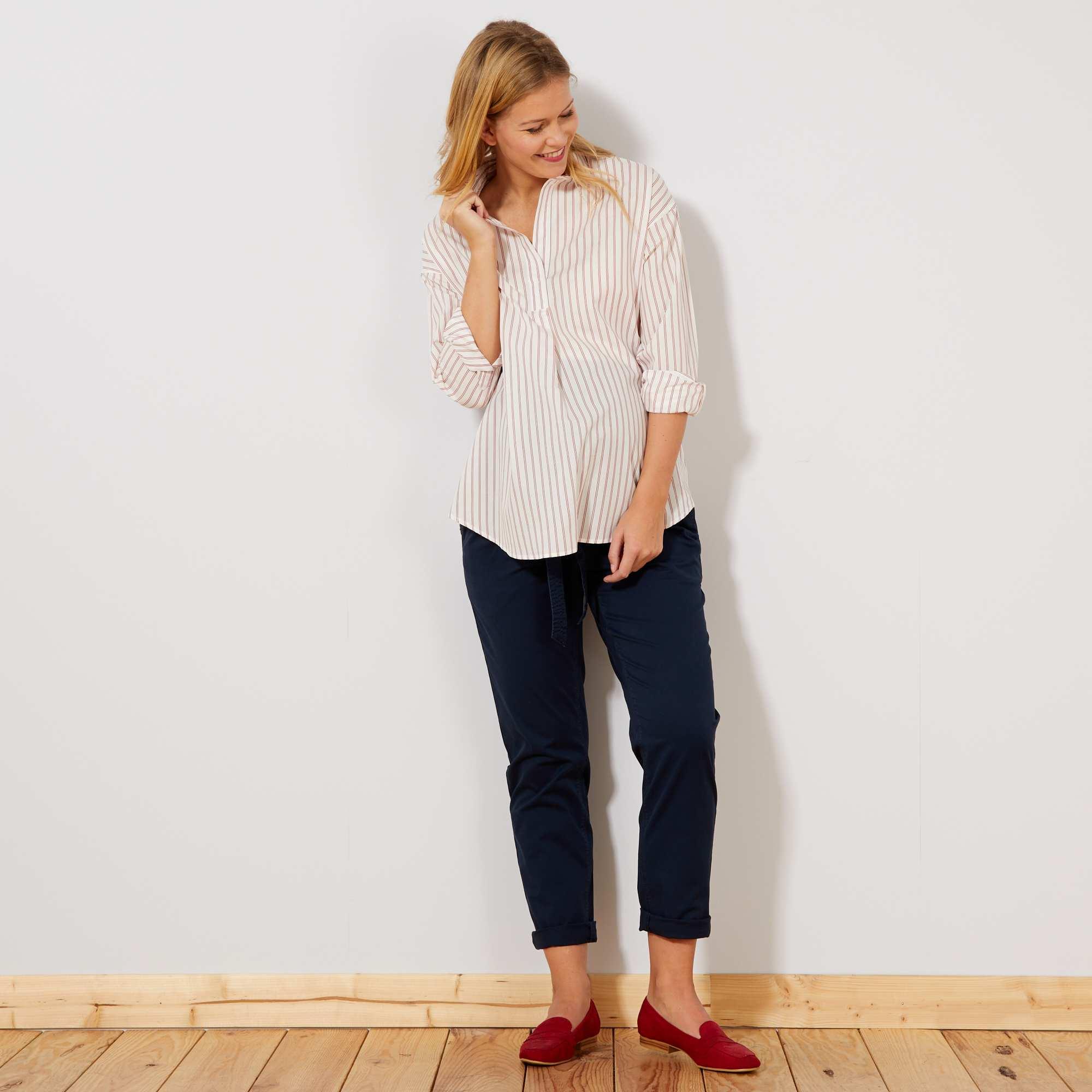 7b12d9dab5 Pantalón chino + cinturón Mujer talla 34 a 48 - azul - Kiabi - 25