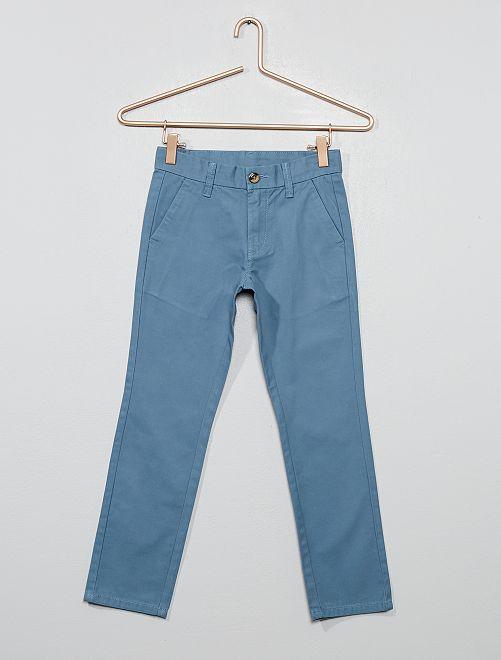 Pantalón chino de algodón de corte recto                                                     azul gris