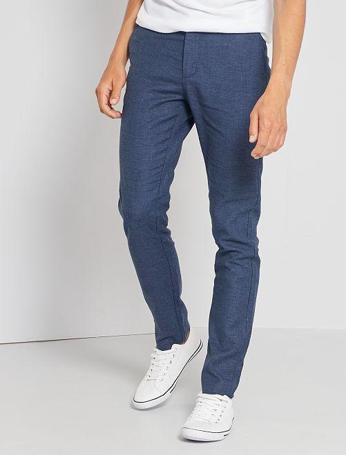 Pantalón chino de lino y algodón                                         AZUL