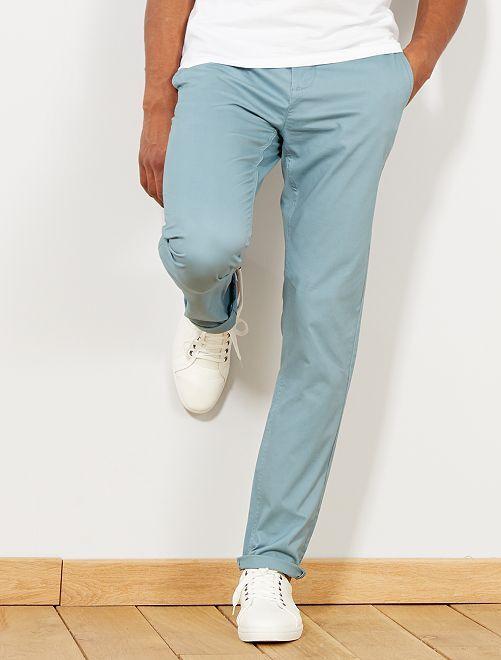 Pantalón chino de sarga de algodón elástica                                                                                                                                                                                                                             azul gris Hombre