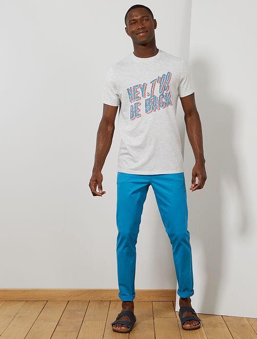 Pantalón chino de sarga de algodón elástica                                                                                                                                                                                                                                                                 azul Hombre