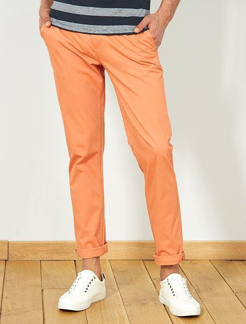 Pantalón chino de sarga de algodón elástica                                                                                                                                                                                                                                                                                                                             NARANJA Hombre