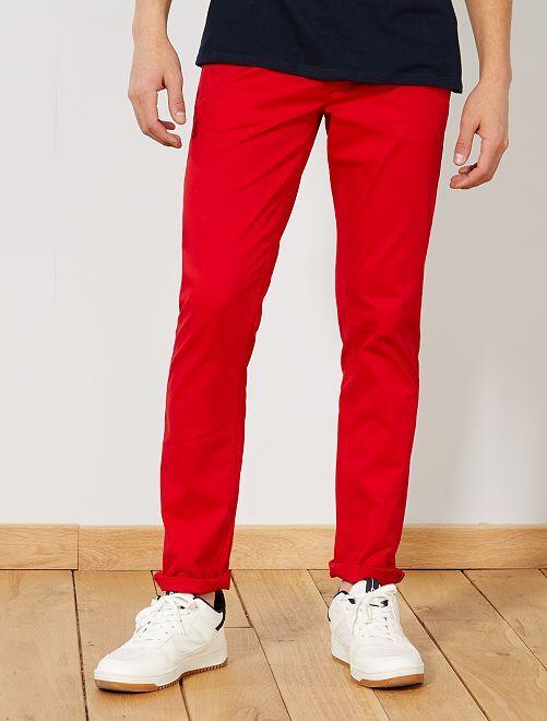 Pantalón chino de sarga de algodón elástica                                                                                                                                                                                                                                                                                                     ROJO Hombre