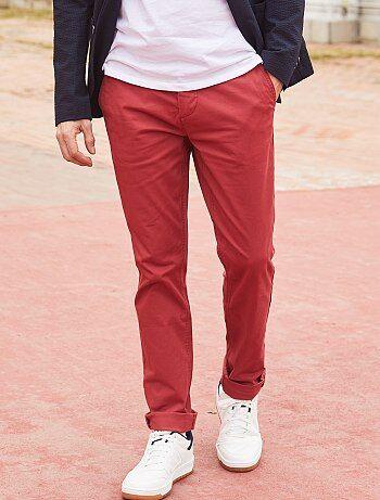 Hombre talla S-XXL - Pantalón chino de sarga de algodón elástica - Kiabi 8aa48f079b86