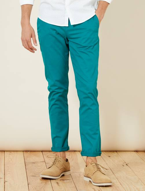 Pantalón chino de sarga de algodón elástica                                                                                                                                                                                                                             VERDE Hombre