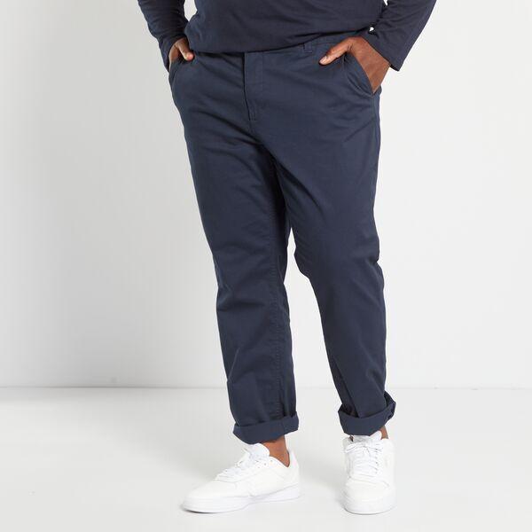 Pantalon Chino De Sarga Elastico Fitted Tallas Grandes Hombre Azul Kiabi 20 00