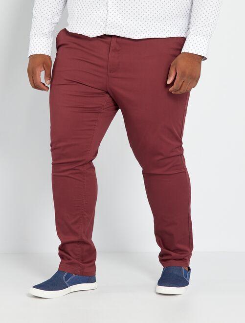 Pantalón chino de sarga elástico fitted                                                                                         bordeaux Tallas grandes hombre