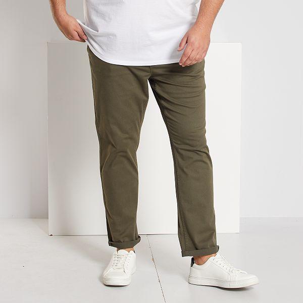 Pantalon Chino De Sarga Elastico Fitted Tallas Grandes Hombre Kaki Kiabi 6 00