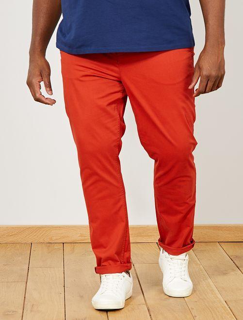 Pantalón chino de sarga elástico fitted                                                                                         naranja ketchup Tallas grandes hombre