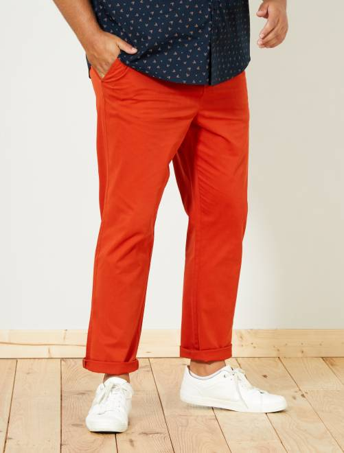 Pantalón chino de sarga elástico fitted                                                                                         NARANJA Tallas grandes hombre